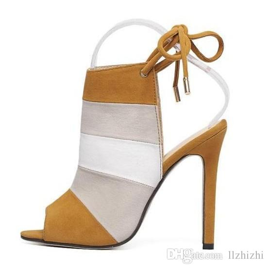 2018 New frosted suede fish's mouth women s shoes and ankle strap is high heel with Rear air and sandals.T238