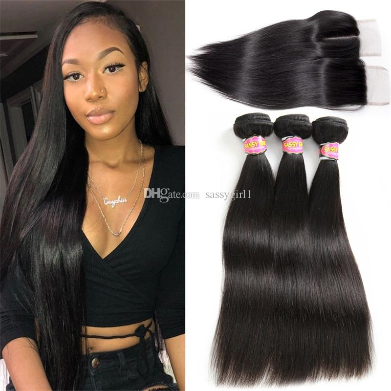 Brazilian Straight Hair With Closure 3 Bundles Unprocessed Virgin Human Hair Bundles With Lace Closure Free Part three Part Middle Part