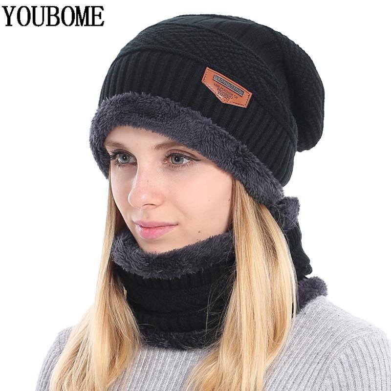 2019 YOUBOME Winter Skullies Beanies Women Knitted Hat Scarf Winter Hats  For Women Men Baggy Ring Warm Thicken Fashion Cap Hats 2018 From Towork 4d0ca4278f85