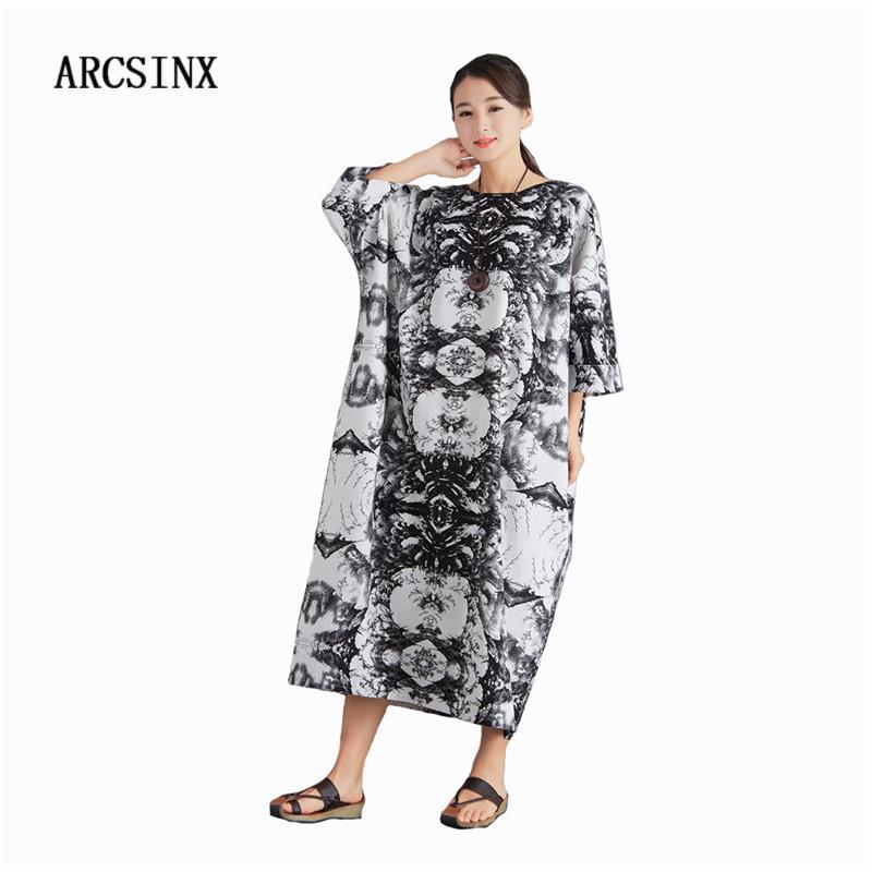 19d8dd5e221a2 ARCSINX Oversized Women's Dress Plus Size 10XL 9XL 8XL 7XL 6XL 5XL 4XL  Casual Women's Dresses Big Sizes Cotton Plus Size Dress