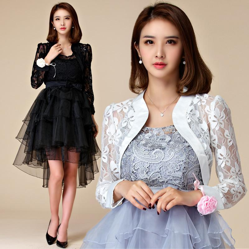 F~3XL Plus Size 2018 Stylish Women Wedding Long Sleeve Lace Evening Party  Cape Jacket Lady Big Bolero Crop Tops Cardigan Outwear Y18110501 Womens  Leather ... fb1b4a8dffca