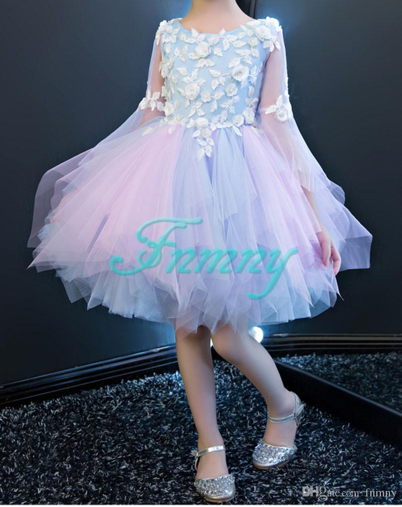ae50014f83c 2018 Colourful Long Sleeves Flower Girl Dresses Detachable Sweep Train  Tiered Girls Holy Communion Dress Kids Formal Wedding Party Gowns Mother Of  The Bride ...