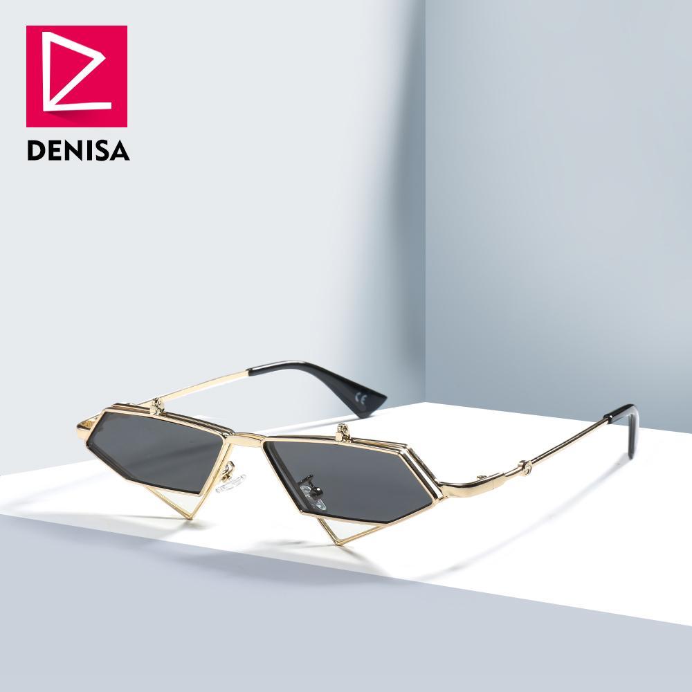 3a3839a21f239 Compre DENISA Famosa Marca De Luxo Steampunk Óculos De Sol Dos Homens Do  Vintage Irregular Lente Vermelha Óculos De Sol Mulheres UV400 Gafas De Sol  Mujer ...
