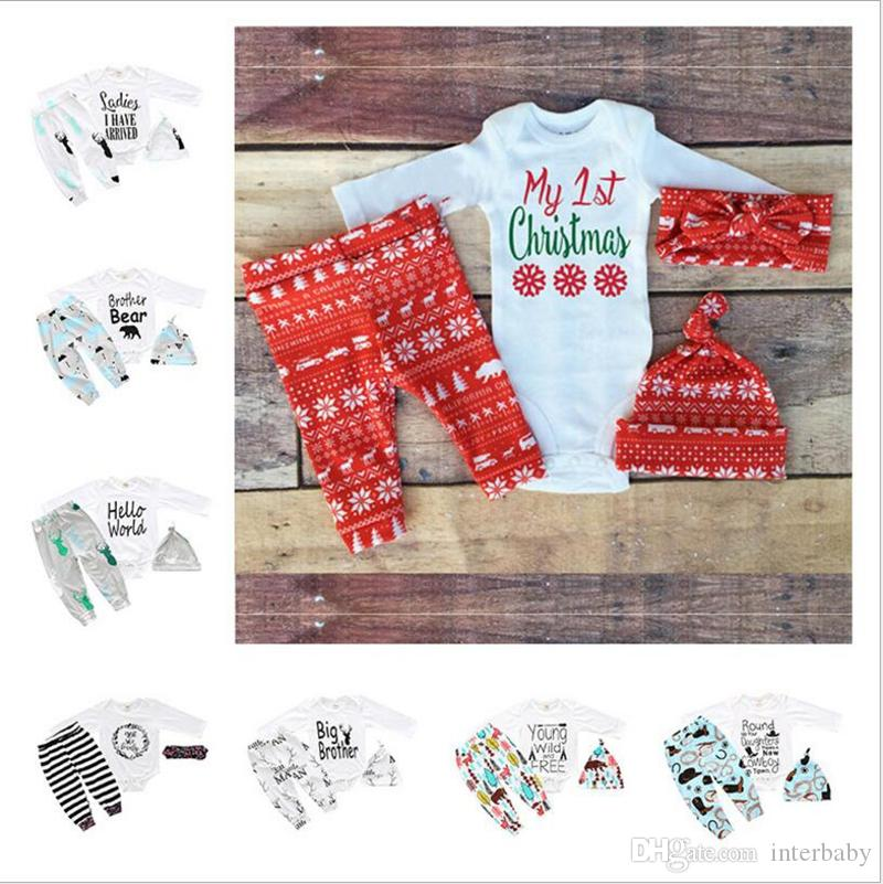 4609e26a786 2019 INS Baby Clothes Set Newborn Boys Red Christmas Outfits Girls Long  Sleeve Clothing Suit Kids Designer Raglan Romper Sets YL494 From Interbaby