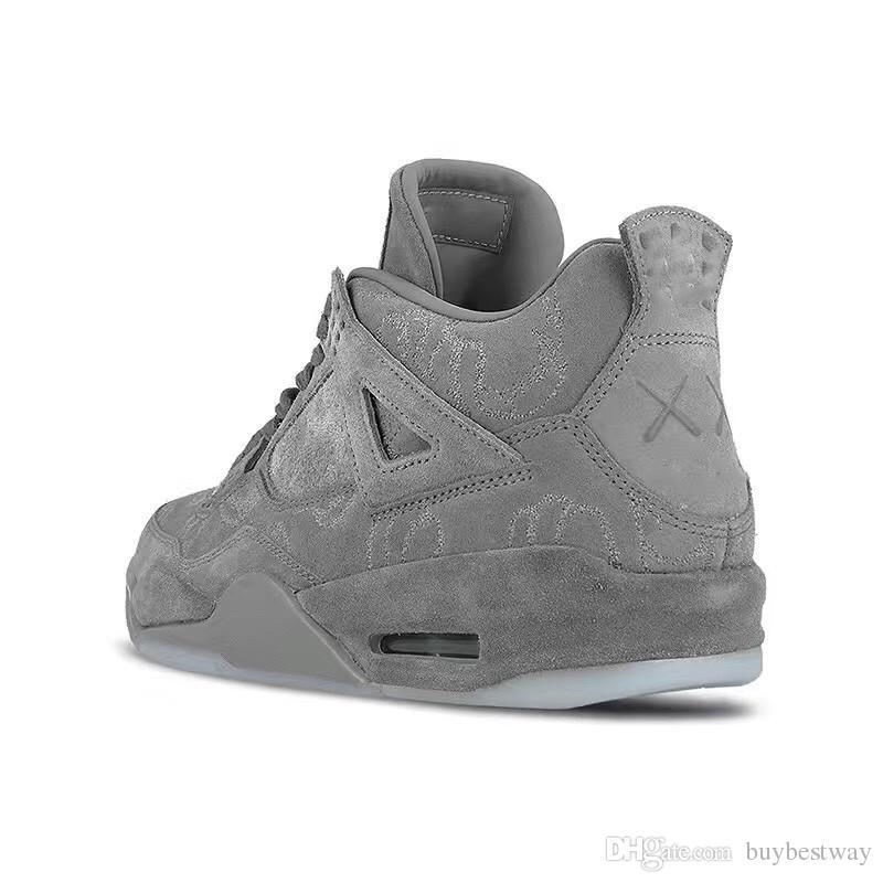 127796fa8b9284 Selling KAWS X 4 XX Kaws Cool Grey White Black Glow Basketball Shoes ...