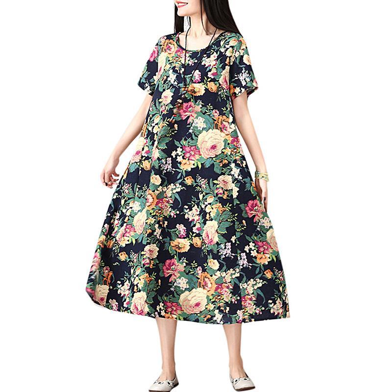 a83bcf52f1 Compre Vestido De Lino De Algodón De Mujer Vintage Estampado Floral O  Cuello Manga Corta Vestido De Playa De Verano Vestido Suelto A Media Pierna  Suelto ...