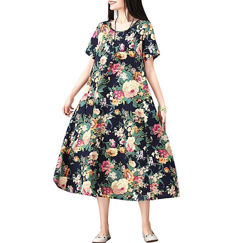 530acc0460b8 Vintage Women Cotton Linen Dress Floral Print O Neck Short Sleeve Summer  Beach Dress Casual Loose Mid Calf Dress Red/Dark Blue Floral Dresses For  Women ...