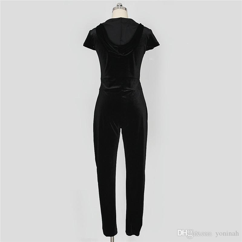 Wholesale Fashion Woman Sexy V Neck Front Zipper Full-length Short Sleeve Skinny Velvet Hooded Jumpsuits