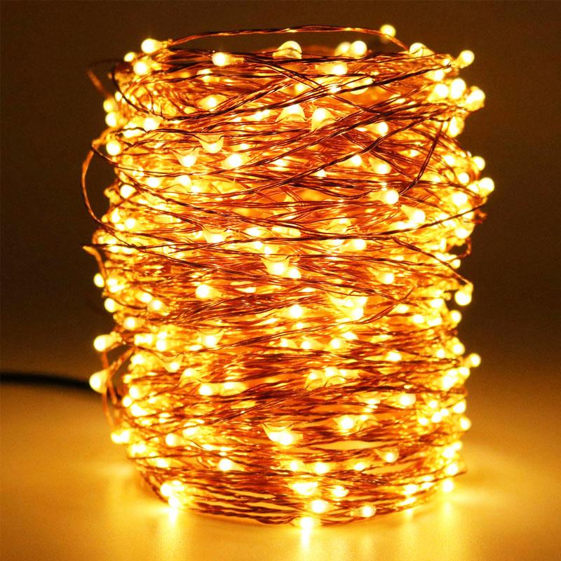10M/20M/30M 300LED 99ft Long LED Copper Wire Starry String Lights,Outdoor Christmas Fairy Light Warm White Strings for Holiday Wedding