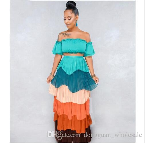 911e1822102 2018 Summer Set Women Crop Top And Long Skirt Sexy Party Casual Two Piece  Set Strapless Slash Neck Set Teenage Party Dresses Inexpensive Cocktail  Dresses ...