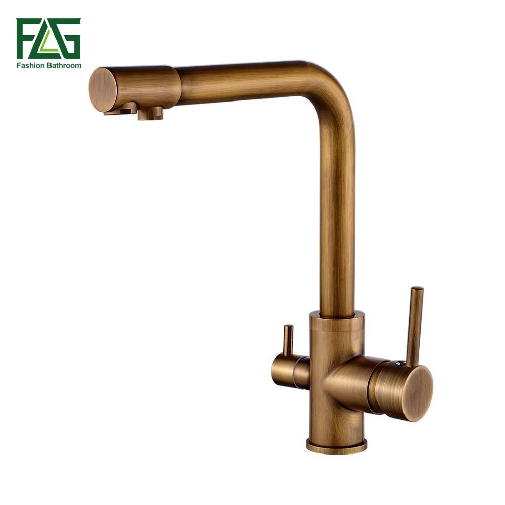 Best Flg 100% Brass Antique Mixer Swivel Drinking Water Faucet 3 Way ...