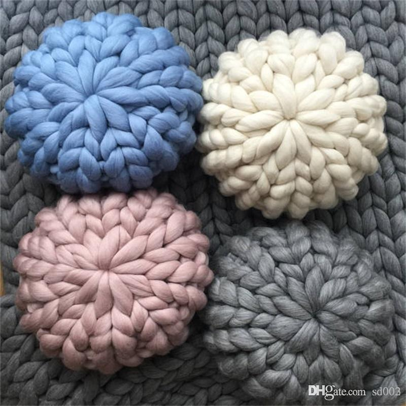 Fake Wool Throw Pillow Hand Knit Round Pillows For Home Sofa