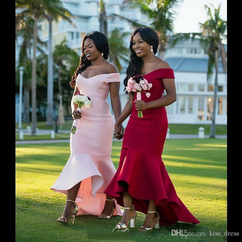 Off-omuz Kısa Gelinlik Modelleri 2019 Yeni Basit Stil Kırmızı Pembe Yüksek Düşük Saten Mermaid Düğün Balo Abiye giyim Custom Made B121