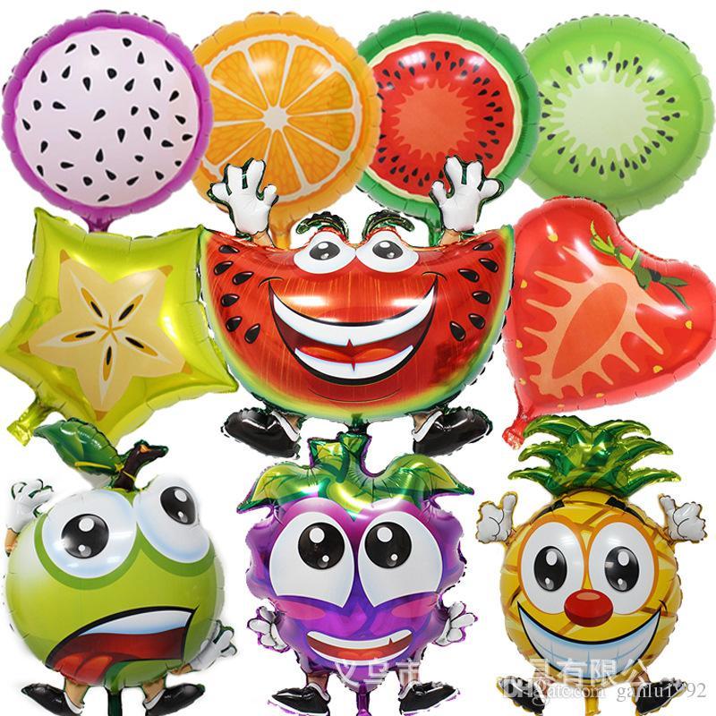 New Pattern Baby Birthday Party Scene Arrangement Multiple Fruit Modeling Decoration Air Metallic Balloon Novelty Toys 1 5qh W