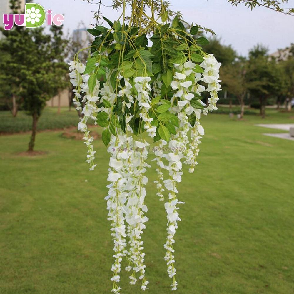 Wholesale Romantic Artificial Silk Wisteria Hanging Flowers Hanging