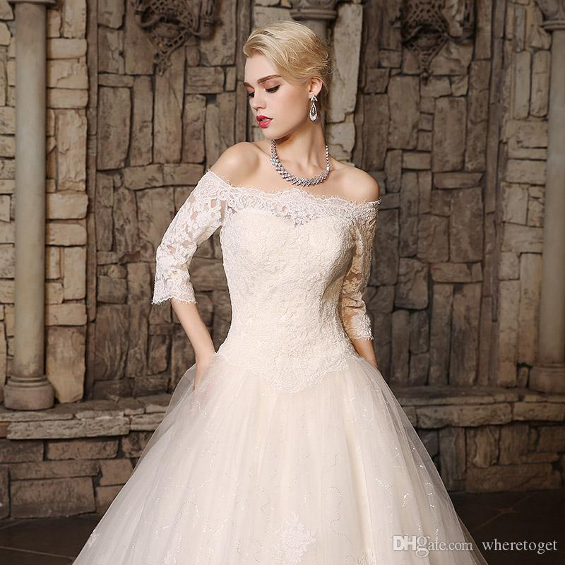 Elegant Ball Gown Wedding Dresses Real Pictures 2018 3/4 long sleeves Lace Appliques Princess Wedding Gowns Off the Shoulder Bridal Gowns
