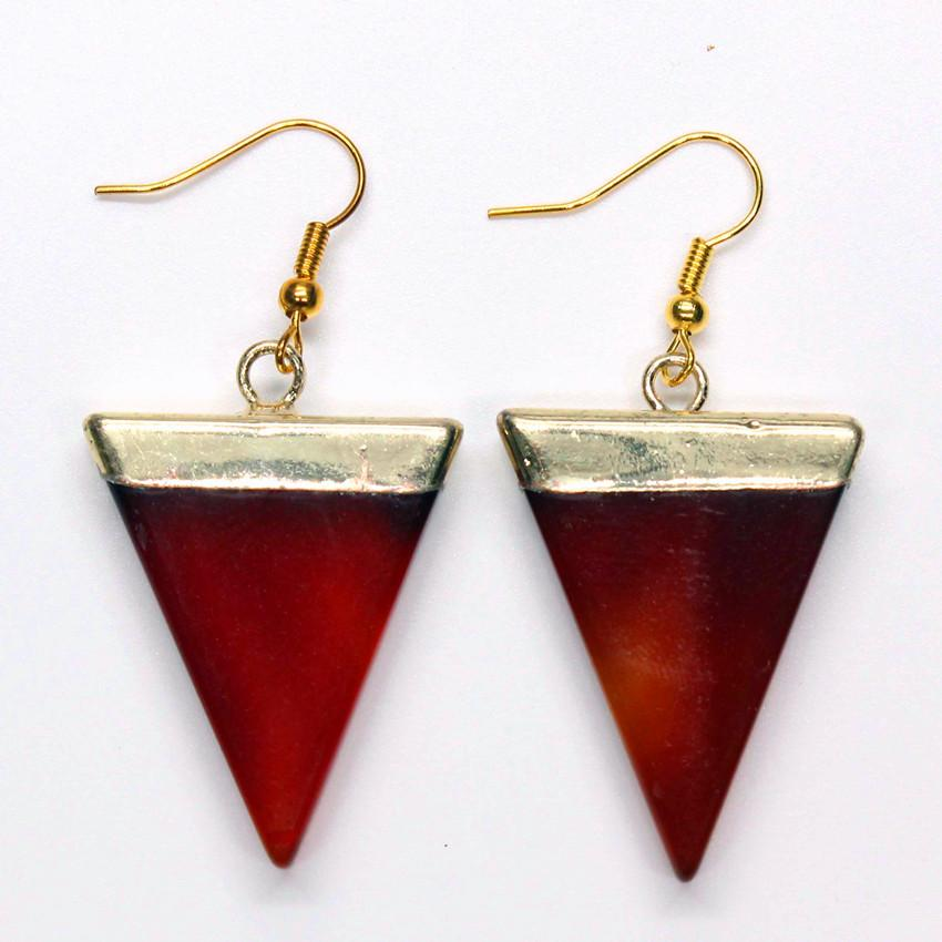 ce07ce501b4e4 Trendy-beads Simple Style Light Yellow Gold Color Triangle Shape Red Agates  Earrings Charm Jewelry