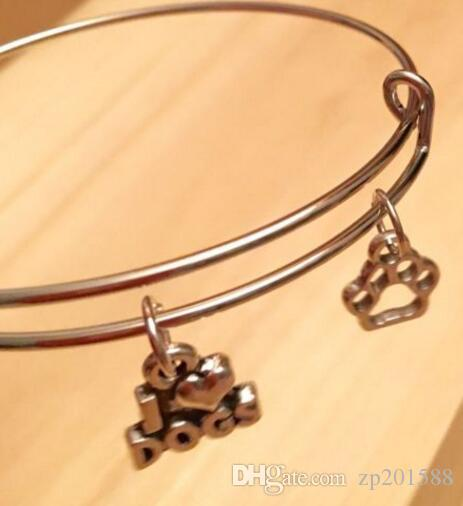 Vintage Silver I Love Dogs Dog Paw Print Charms Expandable Wire Bracelet Bangles For Women Fashion Jewelry Crafts Adjustable Accessories NEW