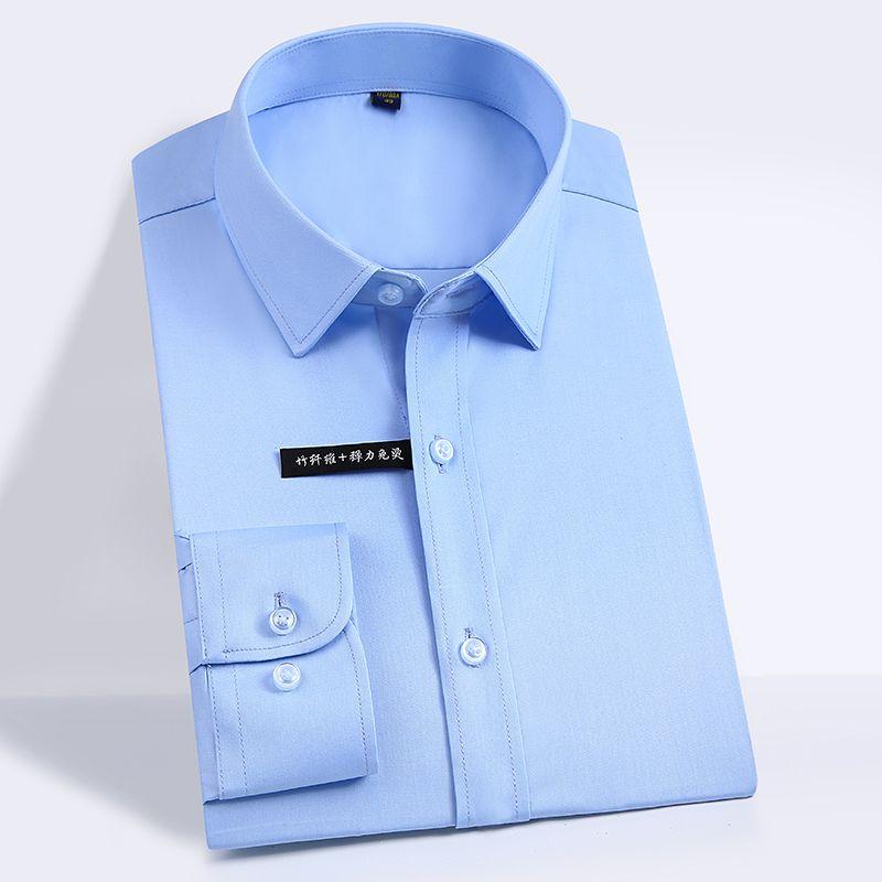 092e4eb1de3c Men's Bamboo Fiber Dress Shirts Comfy Soft Slim Fit Easy Care Solid Long  Sleeve Smart Casual Elastic Non Iron Male Formal Shirt