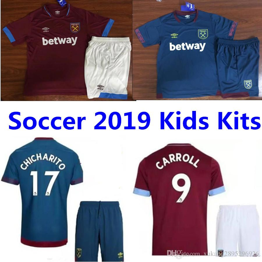 ... ireland 2018 2019 west ham united home soccer jersey kids kits 18 19  thai quality chicharito 0962cd6eb