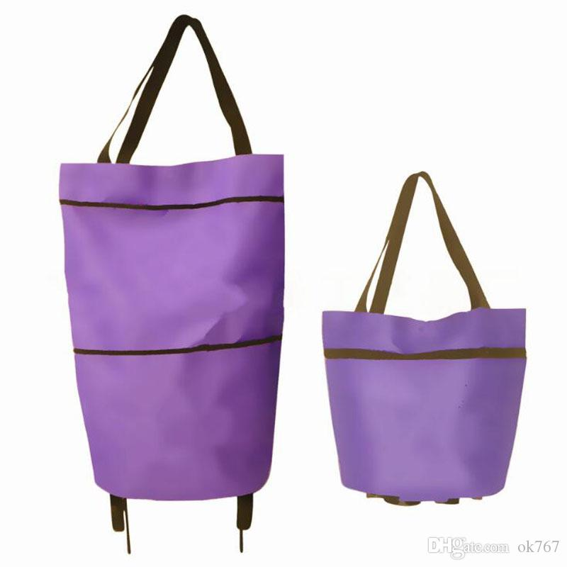 Household Lever Pulley Cart Multi Function High Capacity Tug Bag Durable Folding Shopping Carts With Wheel Rolling