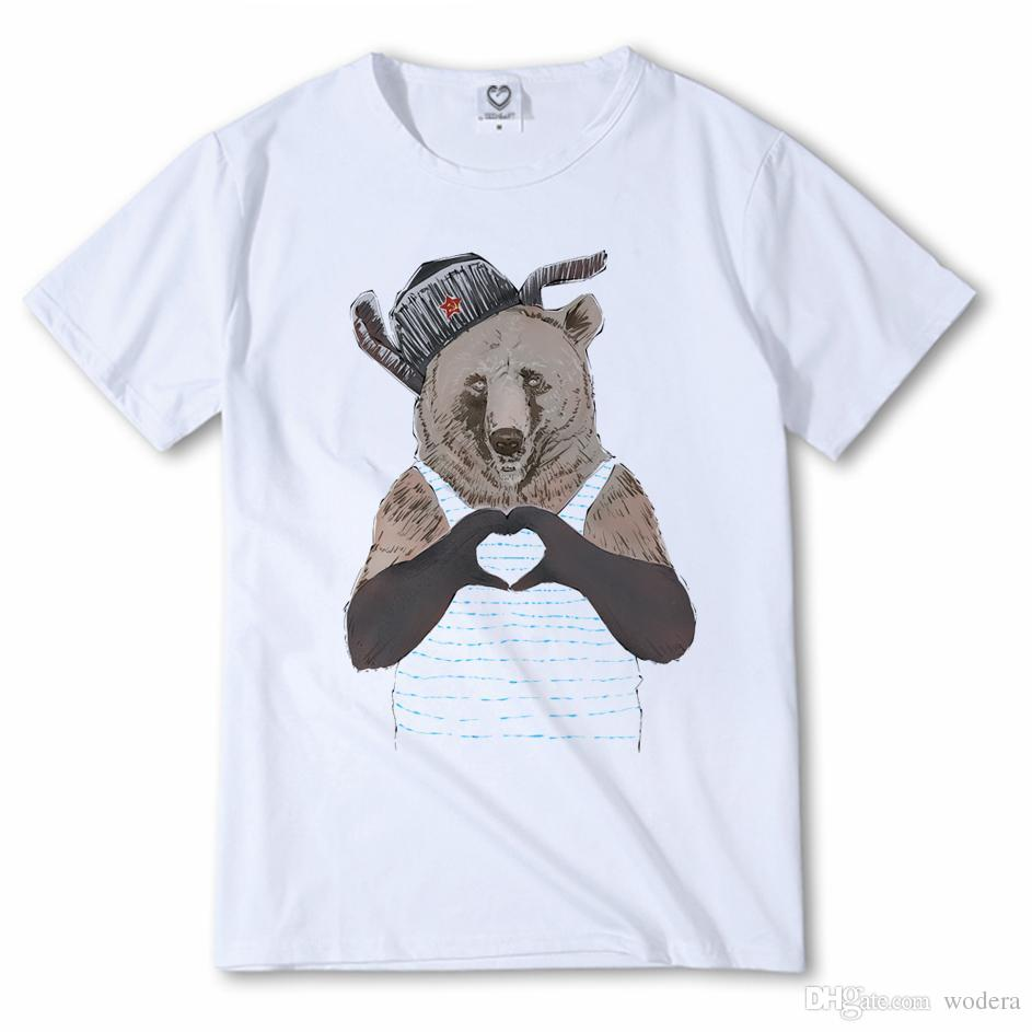 3cf87f4590f7 Cute Bear Love From Russian T Shirt Men s Summer Animal Tops Short ...