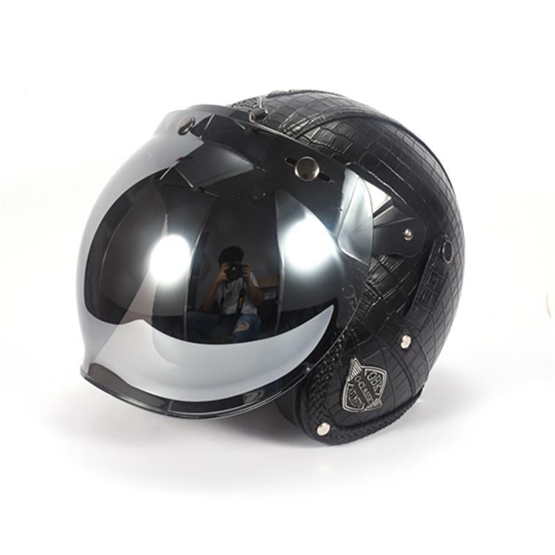 Motorcycle Helmets For Sale >> Obk Leather Harley Helmets 3 4 Motorcycle Chopper Bike Helmet Open Face Vintage Motorcycle Helmet Sier Plated Bubble Mirror