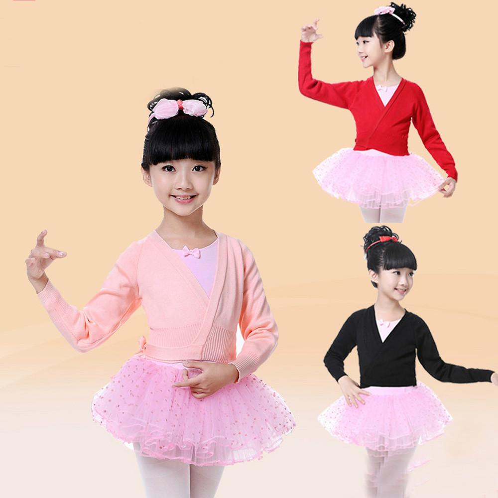 59e14396b267 Kids Girls Dance Ballet Training Dancewear Knitted Cardigan ...
