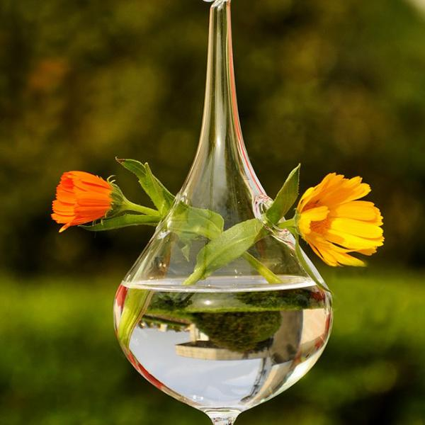 Clear Water Drop Shape Glass Hanging Vase Bole Pot Home Garden Decor