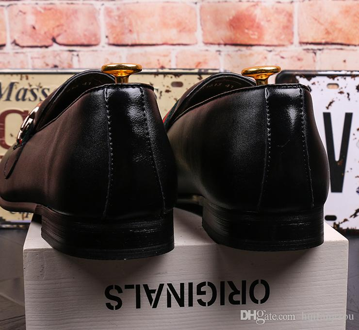 2018 Yeni Gelinlik Ayakkabı Erkekler Siyah Hakiki Deri Tahıl Tasarımcı Erkekler Iş Ayakkabı Sigara Terlik Boyutu Stokta