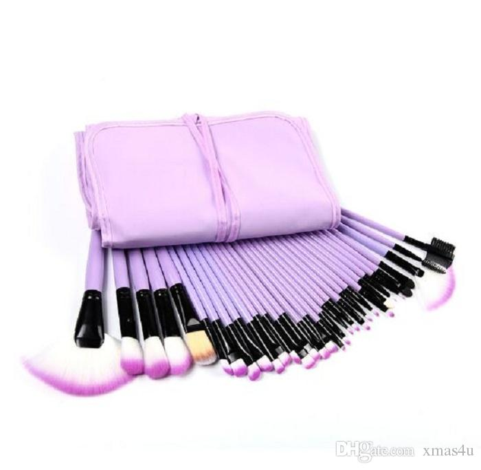 32Pcs Professional Makeup Brushes Eyebrow Shadows Make Up Cosmetic Brush Set Kit Tool + Roll Up Case in Stolck Free Drop Ship