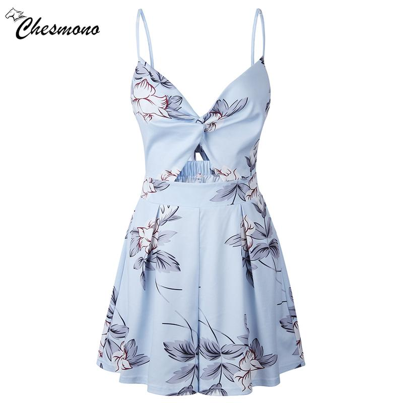 d49b80857f6b Casual Floral Print Strap Backless Bowknot Playsuits Women Elesummer V Neck Jumpsuits  Rompers Sexy Beach Short Overalls UK 2019 From Topcoat