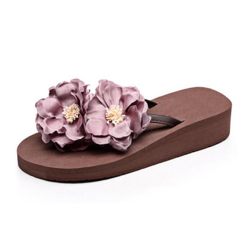 b7f8e585797 Compre Bonitas Flores Zapatos De Mujer Para Mujer Zapatillas De Playa De  Tacones Ultra Altos Plataformas De Moda Sandalias Flip Flops K11 A  44.48  Del ...