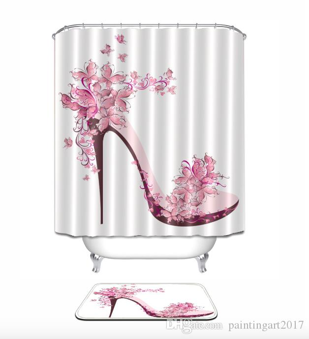 2019 Pink High Heeled Shoes 3D Pattern Print Custom Waterproof Bathroom Modern Shower Curtain Polyester Fabric Door Mat Sets From