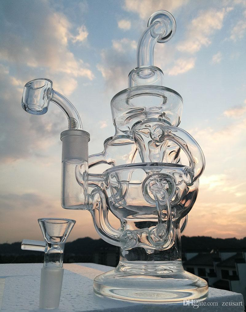 New big glass bong triple cycloeRecycler oil Rigs bongs gear perc water pipes bowl quartz banger 14.4mm joint or buy smoking accessories