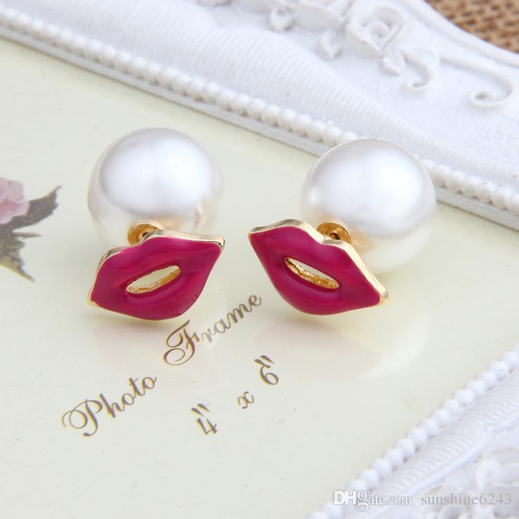 Venta caliente pendientes de perlas de doble cara pendientes de perlas de la moda sexy de labios rojos perla pernos