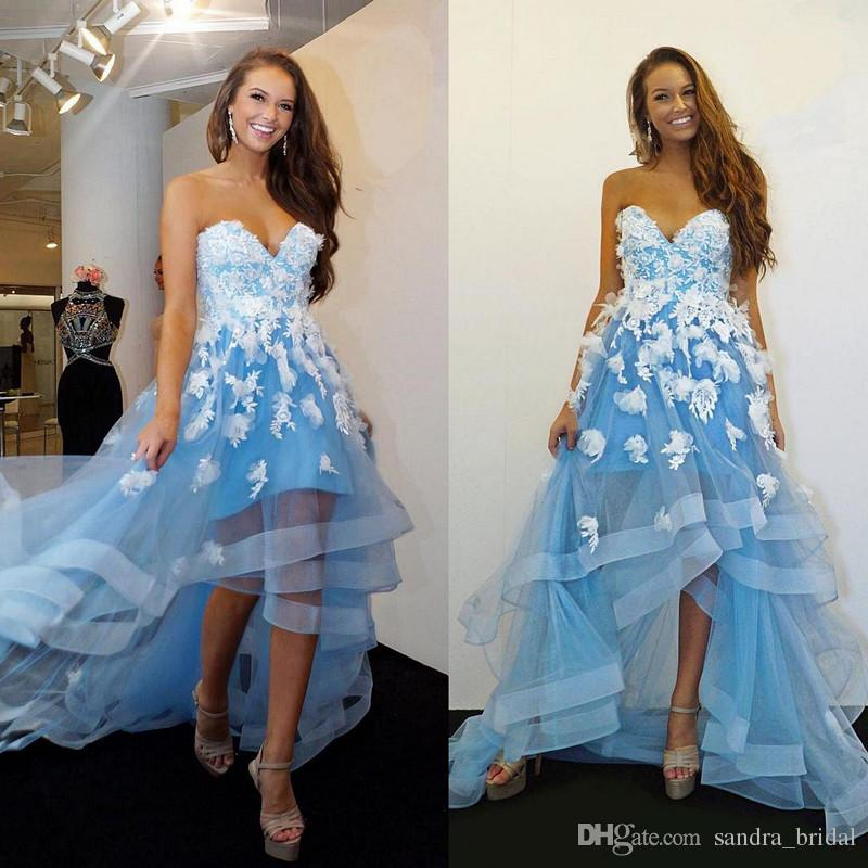 High Low Style Prom Dresses Light Sky Blue With 3d Floral Appliques