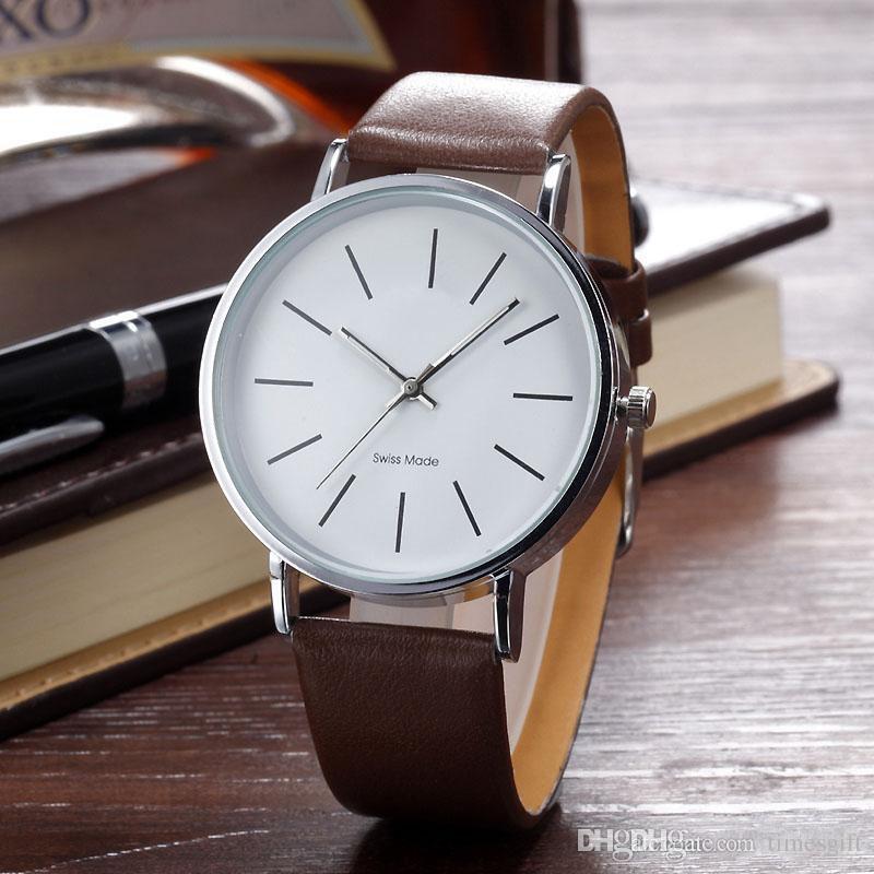 Nuovo arrivo elegante orologio classico in pelle Marca Uomo Donna Signora Ragazza Unisex Moda Design semplice orologio al quarzo Orologio da polso Reloj hombre