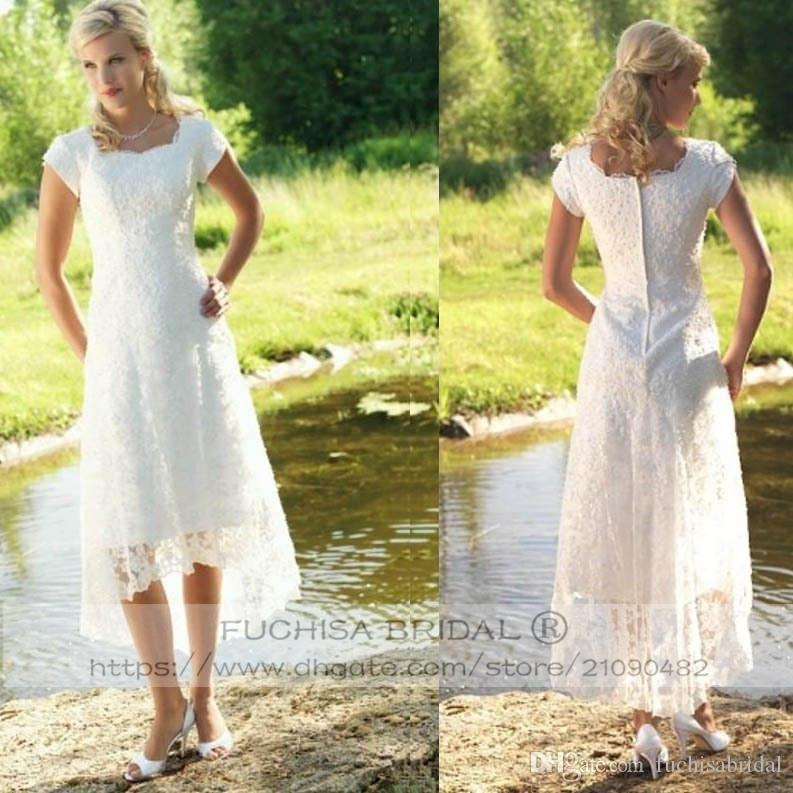 Country Wedding Dresses with Cap Sleeves Tea Length