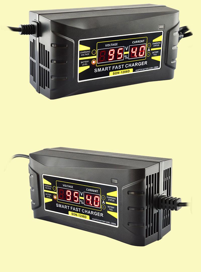 SON-1206D 자동차 배터리 충전기 완전 자동 110V 220V 12V 6A 지능형 빠른 전원 충전 젖은 건조 리드 산 성 디지털 LCD 디스플레이