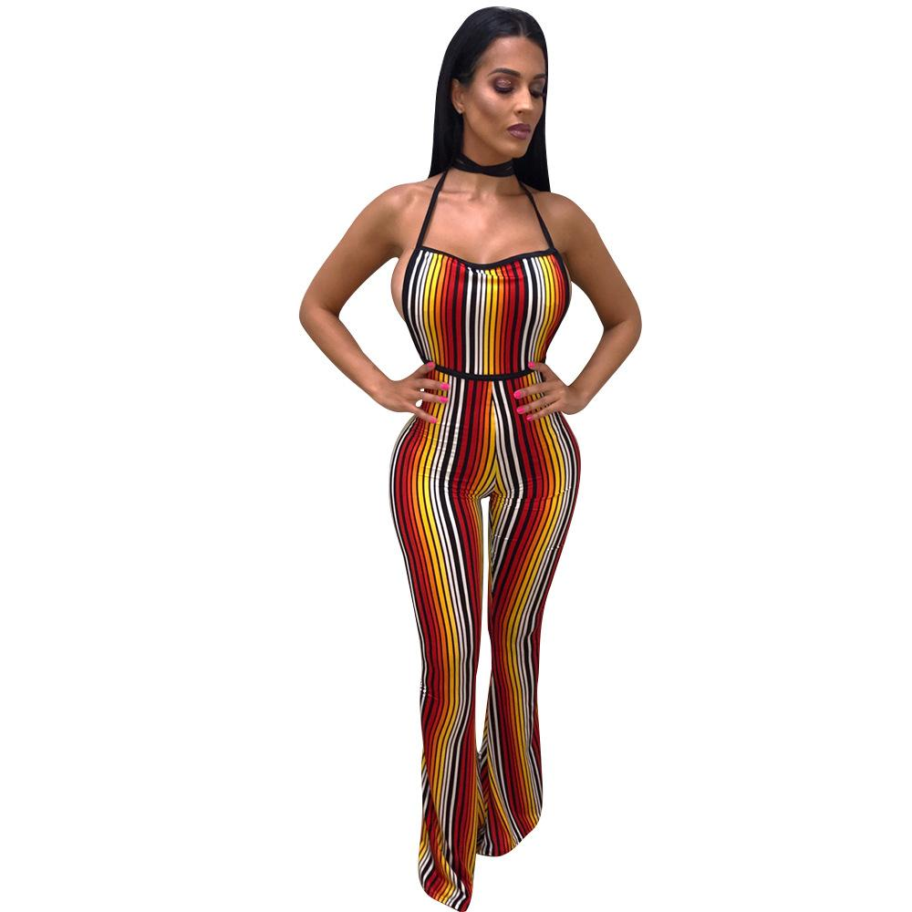 f096894a87 2019 2018 N Striped Jumpsuits Women Sleeveless Backless Overalls Sexy Club Rompers  Womens Jumpsuit Skinny Wide Leg Pants From Regine
