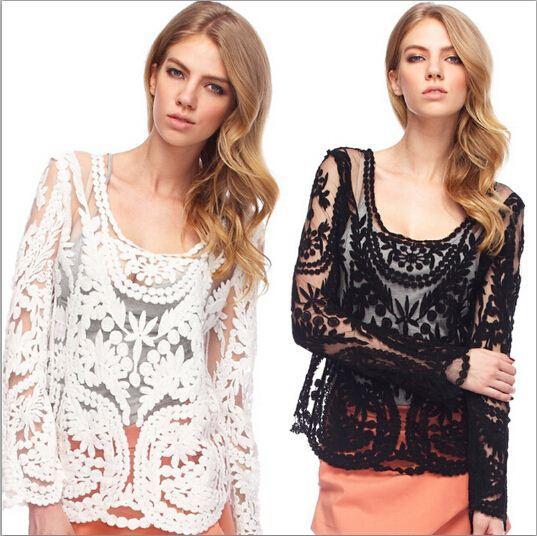2ed323209e Compre Blusa De Renda Mulheres Blusa Feminina Roupas Baratas China ...