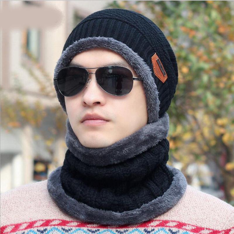 1d8588e19d21 Acheter Balaclava Tricoté Bonnet Écharpe Bonnets Chauffe Cou Chapeaux  D hiver Pour Hommes Femmes Crâne Beanies Chaud Polaire Bonnet S926 De   12.06 Du ...