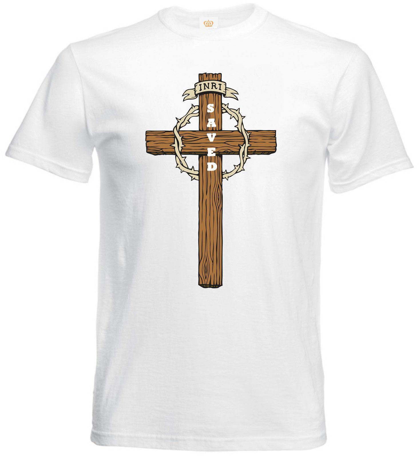 ff10ccc26 Compre Jesus Cristo Cruz Salvou Fé Cristã Slogan Religioso Citação Mens  Camiseta De Valuebuy