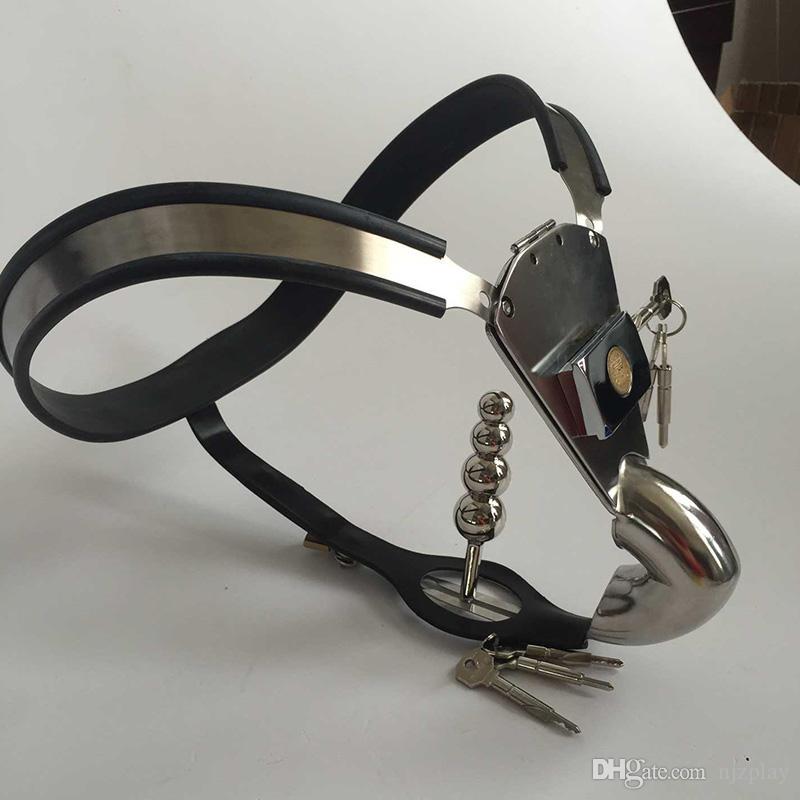 Hot acciaio inossidabile mens pene bondage cintura di cintura pantaloni anale butt plug gallo gabbia maschio dispositivo di blocco castità giocattoli del sesso gli uomini