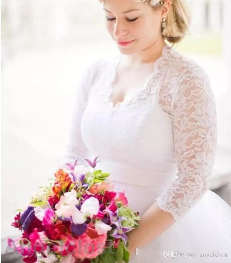 2018 Tea Length Lace Wedding Dresses Ball Gown 3/4 Long Sleeve V-Neck Short Bridal Gowns Plus Size Custom Made Cheap
