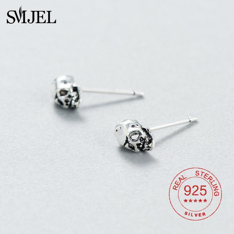 003177706 2019 SMJEL Punk Skull Earrings For Men Boys Cool 925 Sterling Silver Jewelry  Hip Hop Stud Earrings Vintage Rock Skeleton Earring From Shuidianba, ...