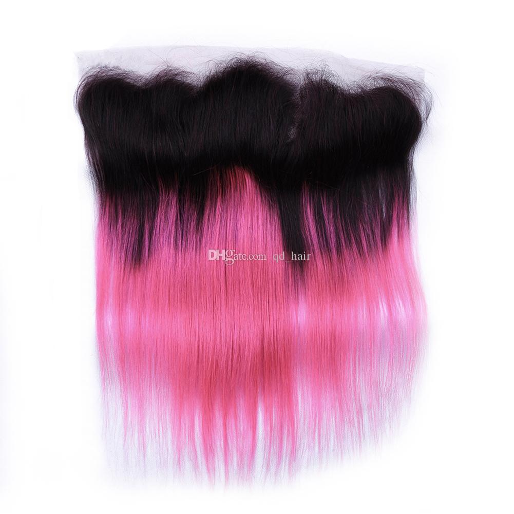 Raiz Escura Ombre Cabelo Rosa Bundles Com Rendas Frontal Brasileira Reta De Seda 1B Cabelo Rosa Com Orelha A Orelha Cheia Lace Frontal 13 * 4