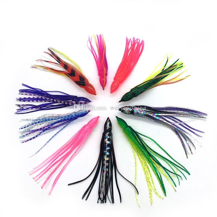 Weiyu Fishing Lure 5.5inch/14cm Soft Plastic Octopus Skirt without Eyes Colormix Saltwater Octopus Bait For Fishing