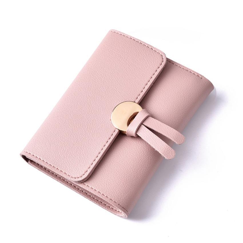 GBSELL Women Two Fold Ultrathin Clutch Card Holder Purse Handbag Short Wallet Pink